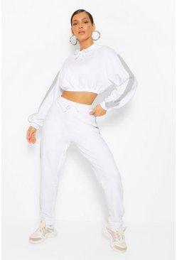 White Contrast Panelled Crop Hooded Tracksuit
