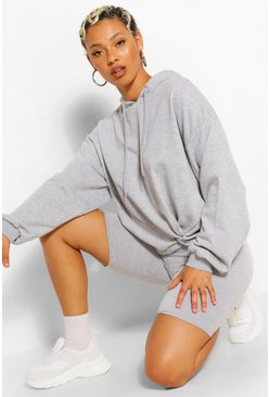 Grey marl grey Knot Front Oversized Hoodie