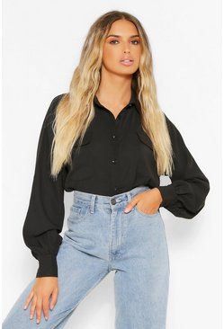 Woven oversized sleeve shirt, Black schwarz