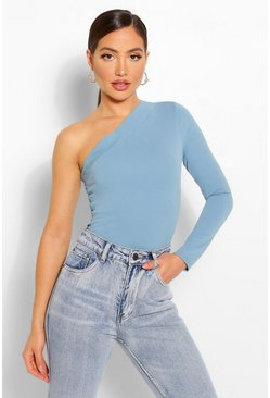 Blue Crepe one shoulder top