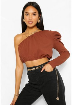Chocolate The Extreme Shoulder Crop Top