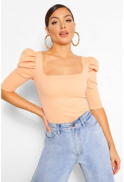 Blush pink Crepe puff sleeve square neck top