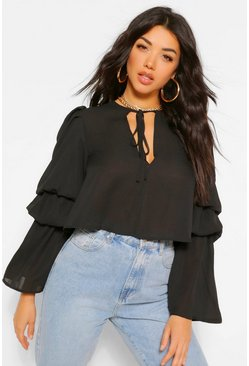 Black Woven tie front volume sleeve top