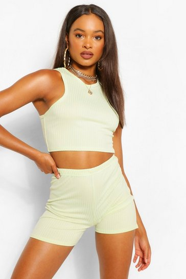 Washed lime yellow JUMBO RIB RACER FRONT CROP VEST