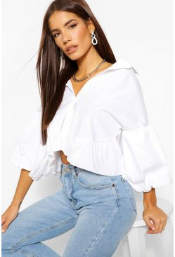 White Statement Sleeve Peplum Hem Shirt