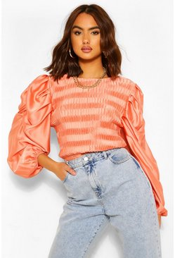 Coral pink Shirred Satin Puff Sleeve Top