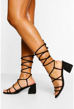 Black Wide Fit Strappy Wrap Up Low Block Heels