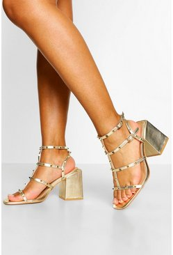 Gold Wide Fit Stud Detail Strappy Block Heels