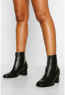 Black Wide Fit Zip Front Low Block Heel Sock Boots