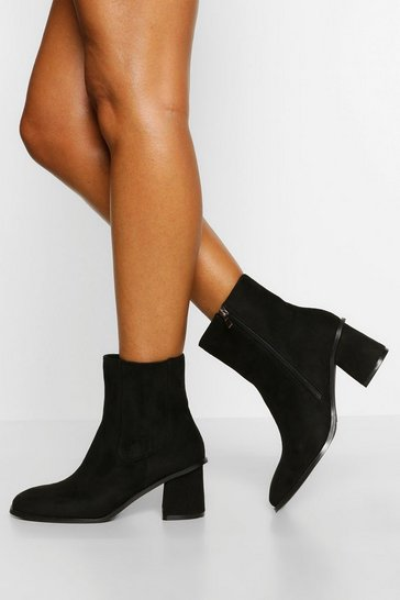 Black Wide Fit Low Block Heel Chelsea Boots