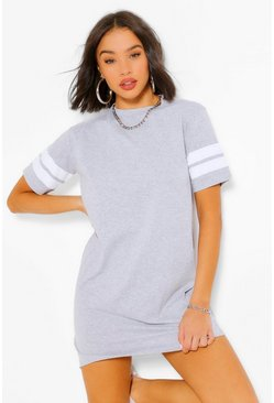 Grey marl grey Stripe Sleeve T-Shirt Dress