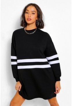Black Stripe Long Sleeve Sweat Dress