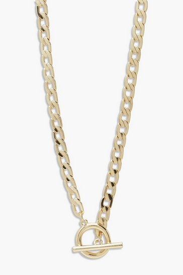 Gold metallic T-Bar Clasp Chain Necklace