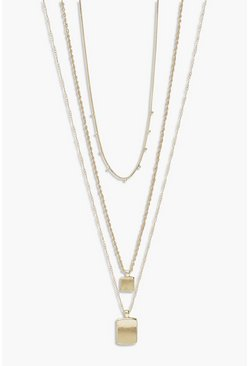 Gold metallic Double Tag Pendant Layered Necklace