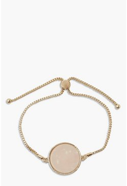 Gold metallic Adjustable Stone Detail Bracelet