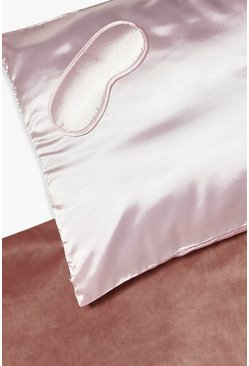 Pink Plain Satin Eyemask & Hair Protect Pillow Set