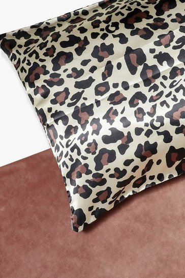 Brown Leopard Hair Protect Satin Pillow Case