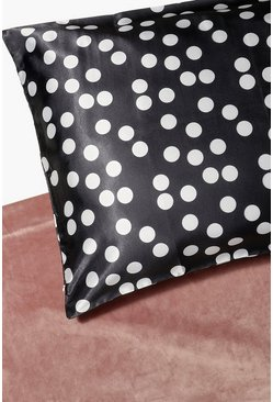 Black Spotty Hair Protect Satin Pillow Case