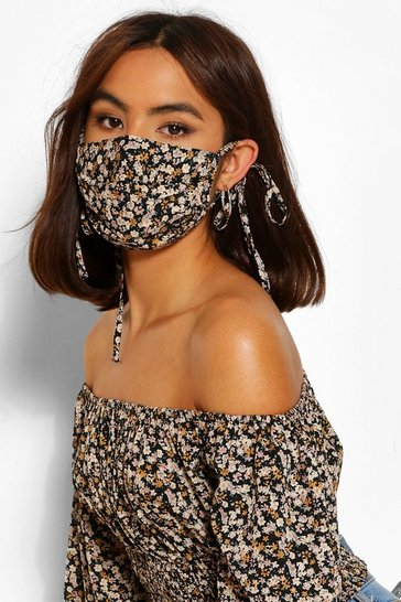 Black Ditsy Floral Fashion Face Mask