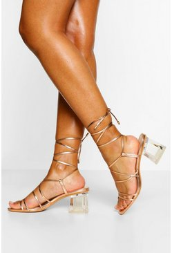 Rose gold Strappy Clear Low Block Heels