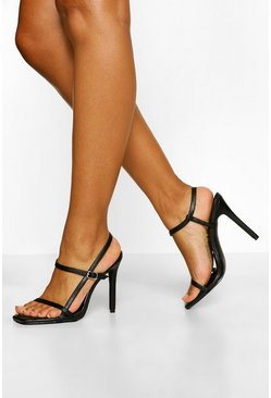 Black Quilted Strappy Stiletto Heels