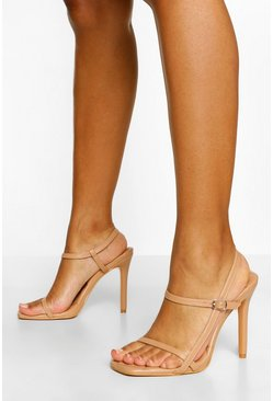 Tan brown Quilted Strappy Stiletto Heels