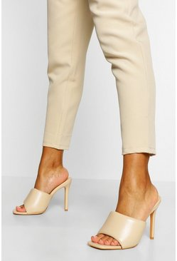 Cream white Padded Strap Square Toe Mules
