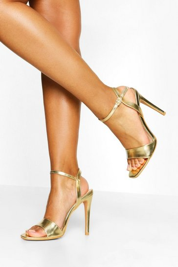 Gold metallic Basic Stiletto Heel Two Parts