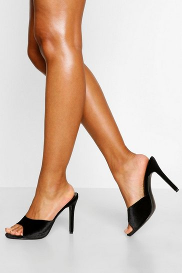 Black Stiletto Heel Peeptoe Mules