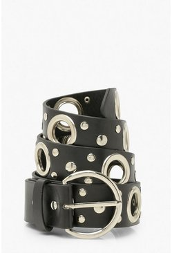 Black Mixed Eyelet Detail Belt