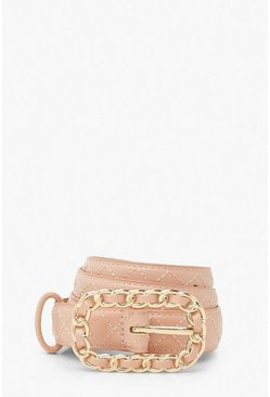 Blush pink Quilted Belt With Chain Detail Buckle