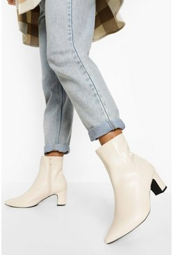 Cream white Basic Block Heel Sock Boots