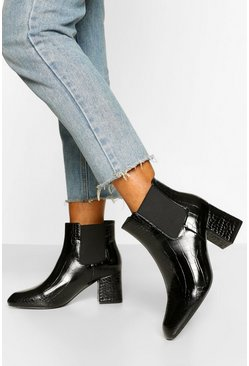 Black Basic Block Heel Chelsea Boots
