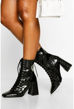 Black Lace Up Detail Block Heel Shoe Boots