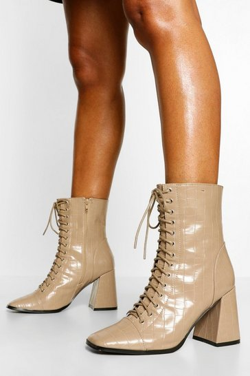 Tan brown Lace Up Detail Block Heel Shoe Boots