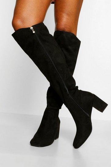 Black Block Heel Round Toe Knee High Boots
