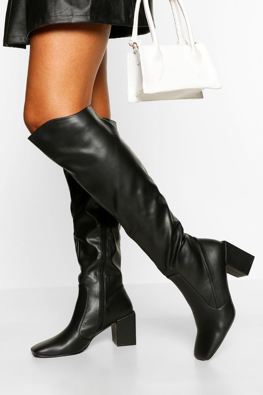 SHOES Block Heel Round Toe Knee High Boots
