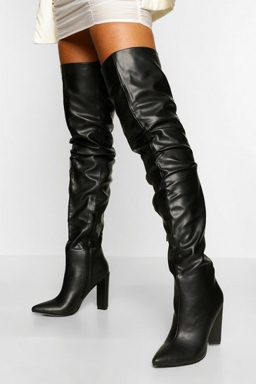 Black Slouched Block Heel Over The Knee Boots