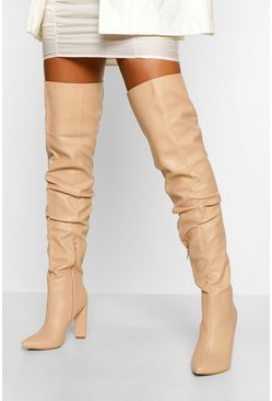 Nude Slouched Block Heel Over The Knee Boots