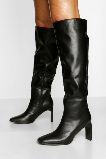 Black Slouched Flat Heel Knee High Boots