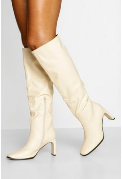 Cream white Slouched Flat Heel Knee High Boots