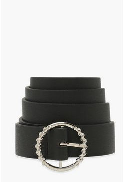 Black Textured Ring Detail Buckle Belt