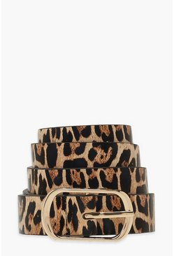 Brown Leopard Simple Buckle Belt