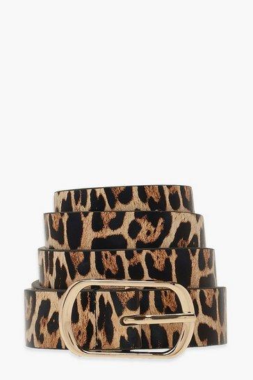 Brown Leopard Simple Buckle Belt