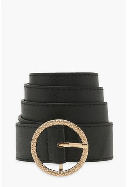 Black Textured Ring Detail Boyfriend Belt