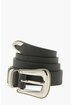 Black Smooth Metal Western Belt