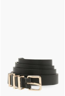 Black Metal Detail Boyfriend Belt