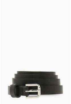 Black Textured Pu Skinny Boyfriend Belt