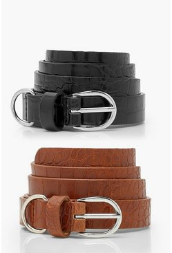Black Croc 2 Pack Simple Buckle Belt