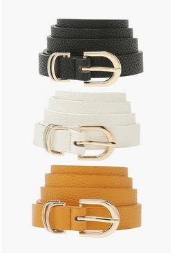 Multi 3 Pack Basic Buckle Belt